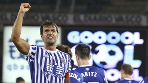 Xabi Prieto celebra un gol contra el Villarreal.