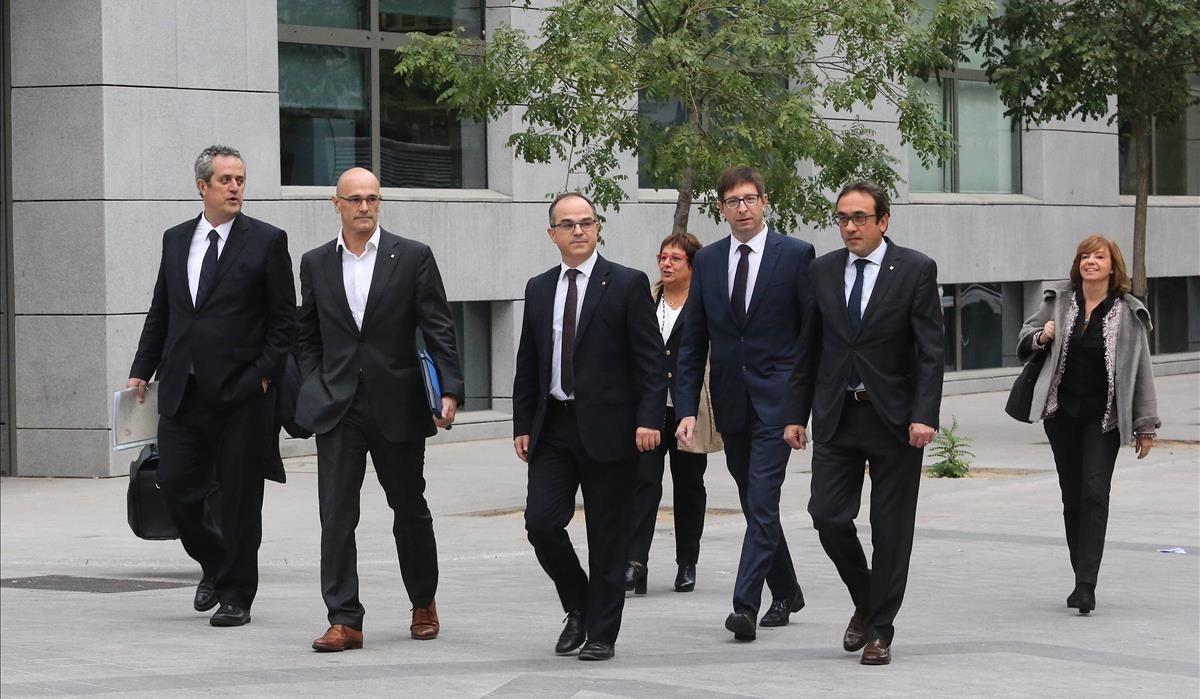 Los exconsellers, este jueves a su llegada a la Audiencia Nacional para declarar ante la jueza Carmen Lamela.