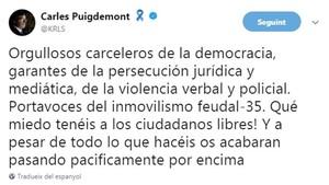 """Puigdemont a PP, PSOE i Cs: """"Us acabaran passant pacíficament per sobre"""""""