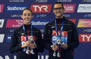 Berta Ferreras y Pau Ribes, con su medalla de bronce en Glasgow.