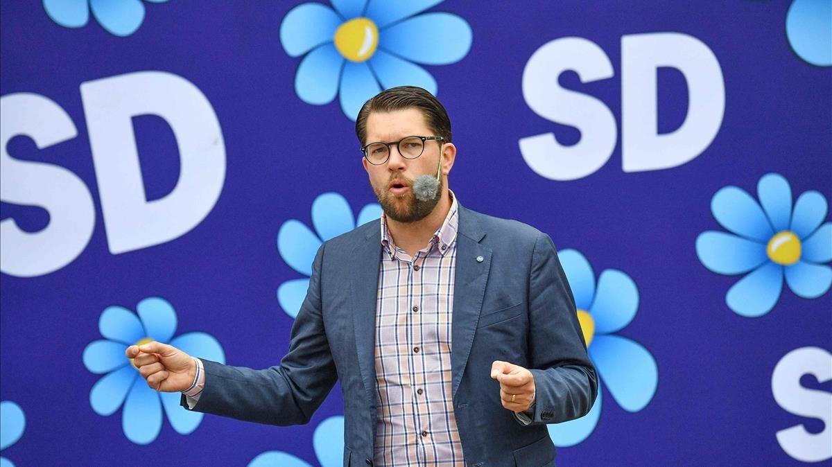 El líder de Demócratas Suecos, Jimmie Akesson, en un acto de campaña en agosto del 2018.