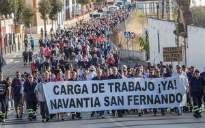 Protesta de los trabajadores de Navantia, el pasado 18 de septiembre, reclamando trabajo tras el anuncio del Gobierno de suspender la venta de armas a Arabia Saudí.