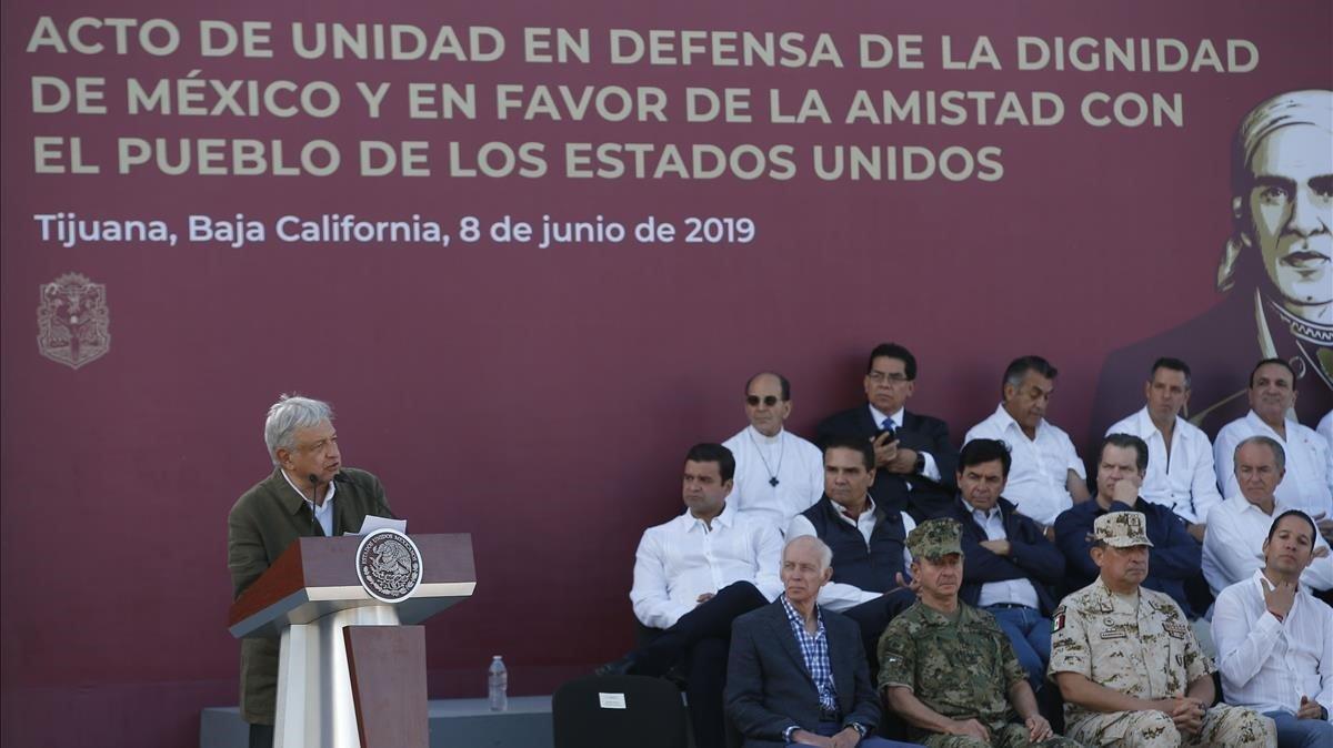 El presidente de México Andrés Manuel López Obrador durante el acto celebrado en Tijuana el 8 de junio.