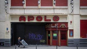 Entrada de la sala Apolo que no ha podido ofrecer ningún concierto desde marzo pasado a causa de las leyes decretadas a raíz del covid-19.