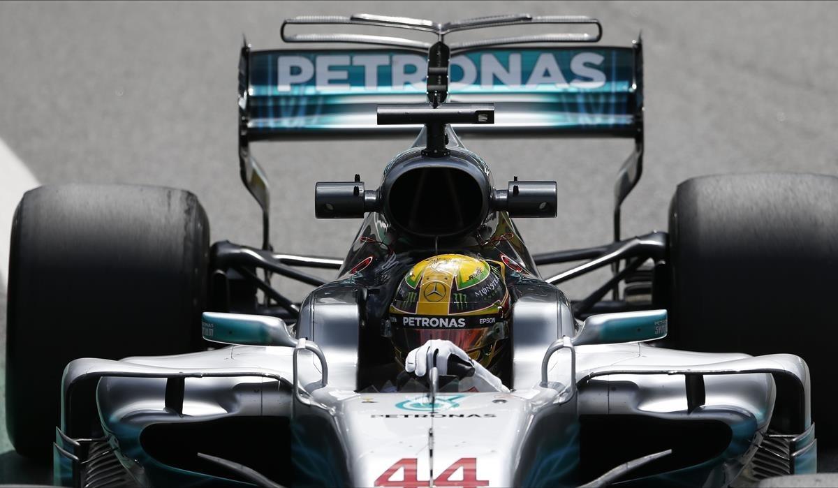 Hamilton, en los entrenamientos del GP de Brasil.