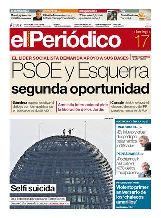 La portada d'EL PERIÓDICO del 17 de novembre del 2019