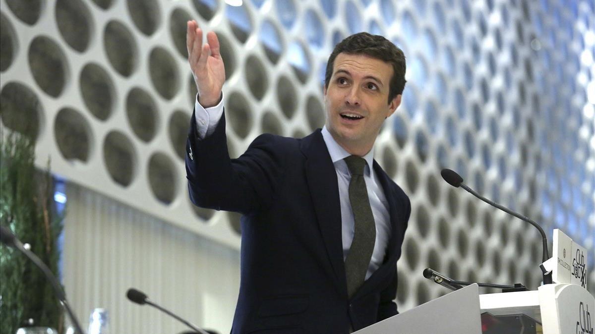 El presidente del PP, Pablo Casado, en Club Siglo XXI.
