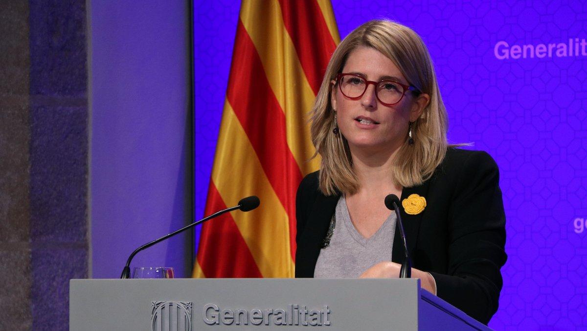 La portavoz del Govern, Elsa Artadi, en rueda de prensa tras una reunió del consell executiu.