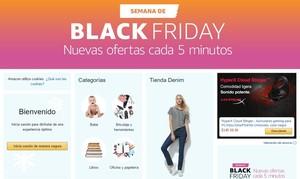 Cabecera de la web de Amazon, con el anuncio de las ofertas de la cuenta atrás del Black Friday.