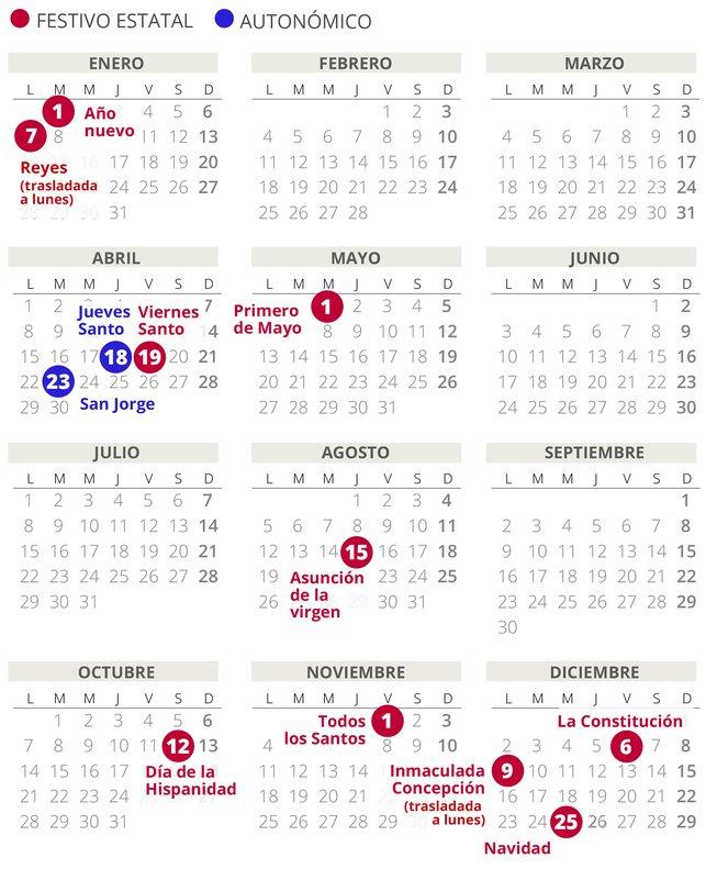 Calendario laboral de Aragón del 2019 (con todos los festivos)