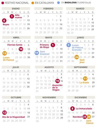Calendario laboral de Badalona del 2020.