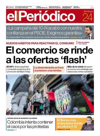 La portada de EL PERIÓDICO del 24 de noviembre del 2019