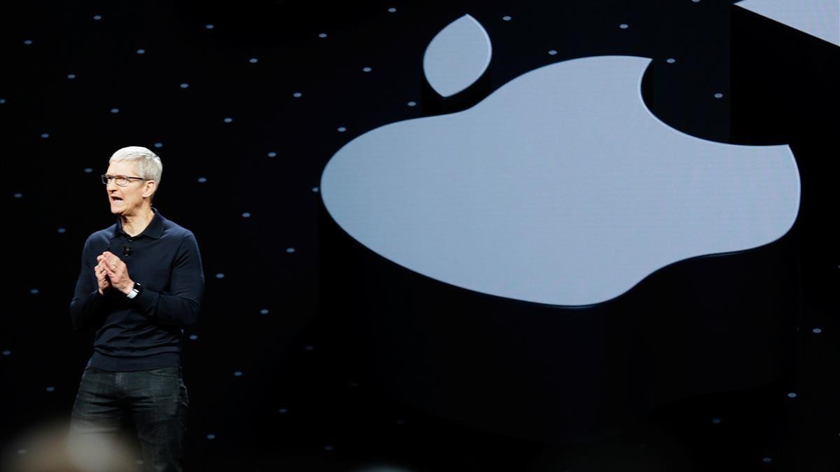 El consejero delegado de Apple, Tim Cook, durante la presentación del macOS Mojave