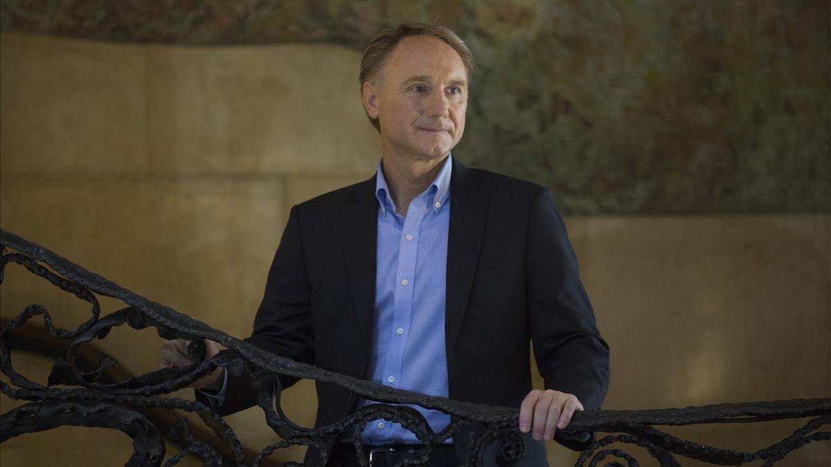 Dan Brown, en la presentaciónde 'Origen', en la Pedrera de Barcelona.