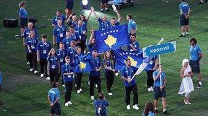 La delegación de atletas kosovares que participó en los Juegos de Tarragona.