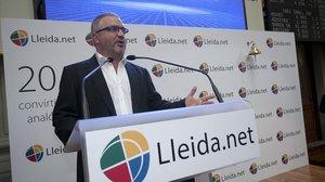 El fundador y CEO de Lleida.net, Siscu Sapena, en un acto empresarial.