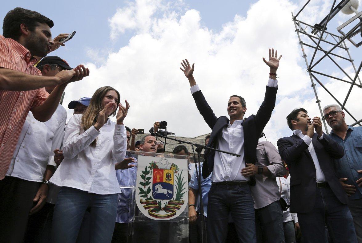 Juan Guaidó, el autoprocalamado presidente interino en su regreso a Venezuela.