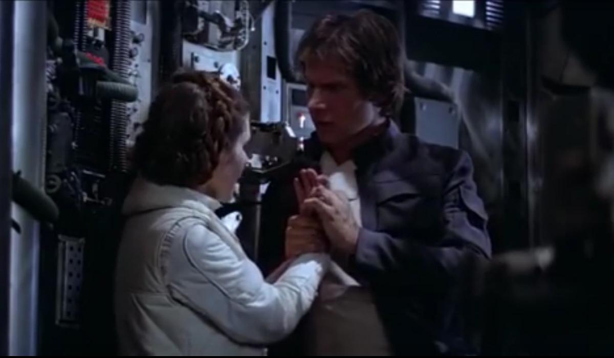 Han Solo y la princesa Leia en una escena deStar Wars: el imperio contraataca.