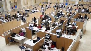 Una oficina de la Agencia Tributaria en Madrid.