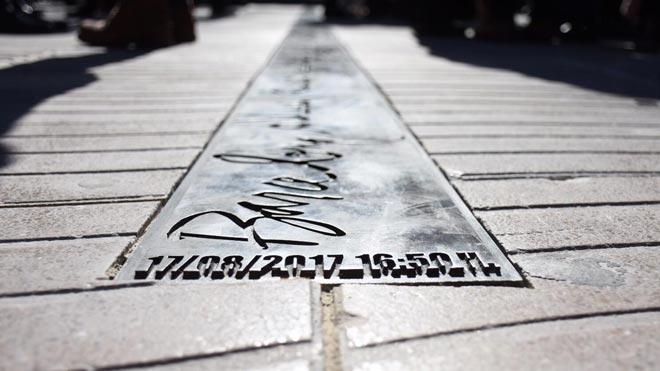 Inauguración del memorial del atentado del 17A en La Rambla de Barcelona.