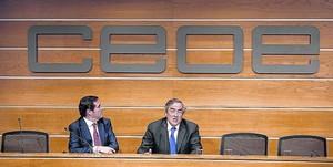 Juan Rosell, presidente de la CEOE y Antonio Garamendi, de Cepyme.