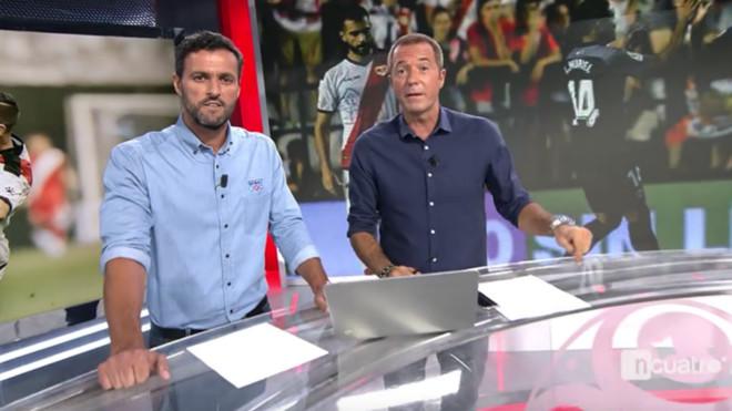 Kiko Narvaéz y Manu Carreño en el nuevo plató de Deportes Cuatro.