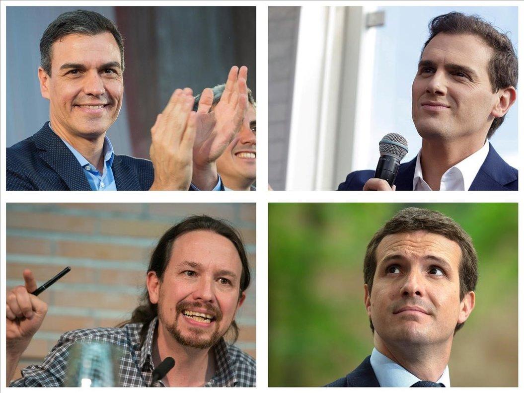Los candidatos Pedro Sánchez, Albert Rivera, Pablo Iglesias y Pablo Casado.