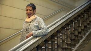Maria Antònia Oliver, el 2 de febrero del 2016 en la sede de Òmnium, cuando se anunció que recibía el Premi dHonor de les Lletres Catalanes.