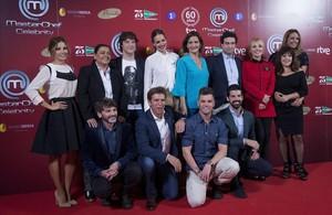 El jurado y los concursantes del nuevo concurso de TVE-1 Masterchef Celebrity, en la presentacióndel programa en Madrid.