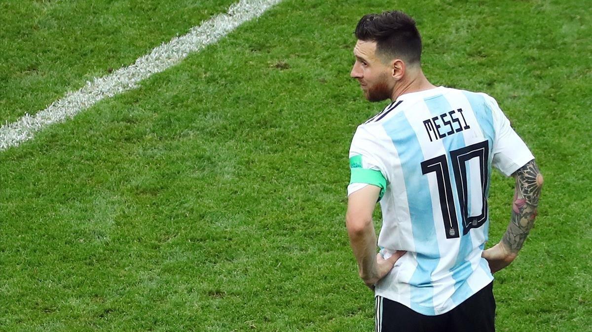 Messi, en Kazán, en su último partido con Argentina el pasado 30 de junio del 2018.