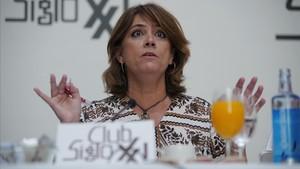La ministra de Justicia Dolores Delgado, esta mañana, durante el desayuno informativo del Club Siglo XXI