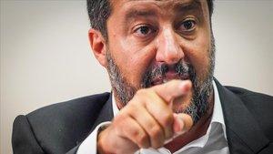 El ministro del Interior italiano, Matteo Salvini, en una rueda de prensa el pasado 15 de agosto.