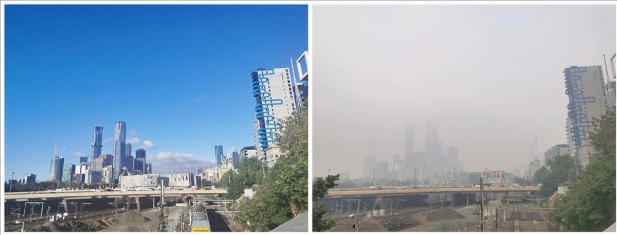 La misma vista de la ciudad de Melbourne el 9 de enero (izquierda) y el 14 de enero, con presencia de humo por los incendios de Australia.