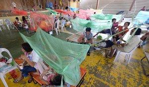 Pacientes que sufren de dengue descansan enun gimnasiocubiertos con mosquiteros en la ciudad de Maasin, Filipinas