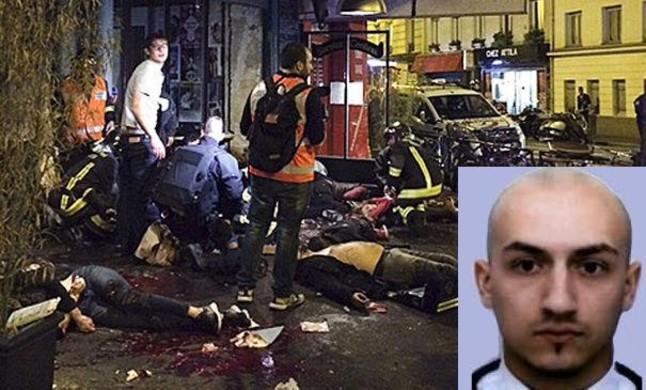 Retrato policial de Samy Aminour sobre una imagen de los atentados de París.