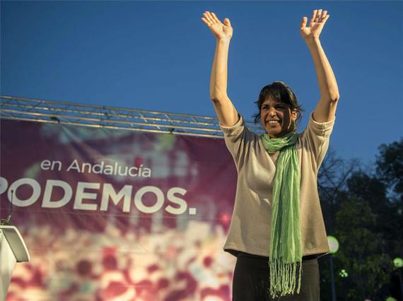 Teresa Rodríguez, candidata de Podemos a la presidencia de la Junta, en un mitin en Jaén..