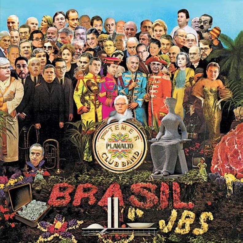 La versión brasileña 2017 de la histórica portada del álbum de los Beatles, que ahora cumple 50 años.