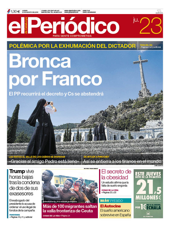 La portada de EL PERIÓDICO del 23 de agosto del 2018