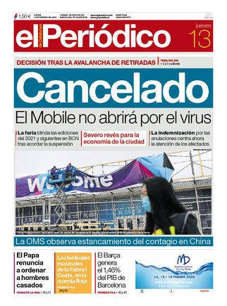 La portada de EL PERIÓDICO del 13 de febrero del 2020.