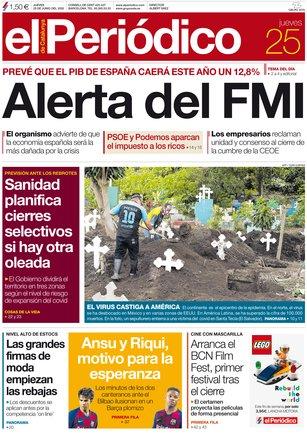 La portada de EL PERIÓDICO del 25 de junio del 2020.