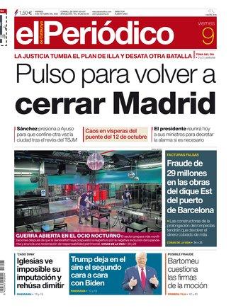 La portada de EL PERIÓDICO del 9 de octubre del 2020