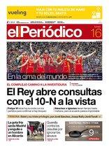 La portada de EL PERIÓDICO del 16 de septiembre del 2019.
