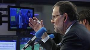 El presidente del Gobierno Mariano Rajoy, durante su aparición como comentarista en la Cope