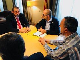 Reunión entre el alcalde de Mataró, David Bote, y el conseller de Interior, Miquel Buch.