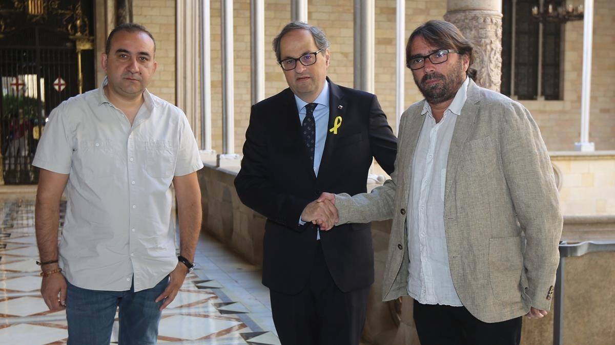 Reunión entre el presidente Quim Torra y los líderes de UGT y CCOO en Catalunya.