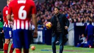 Rubi, el entrenador del Espanyol, en el partido contra el Atlético en el Metropolitano.