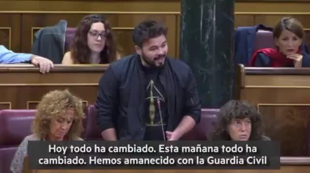 La intervención de Rufián (ERC) en el Congreso tras la operación de la Guardia Civil contra la Generalitat.