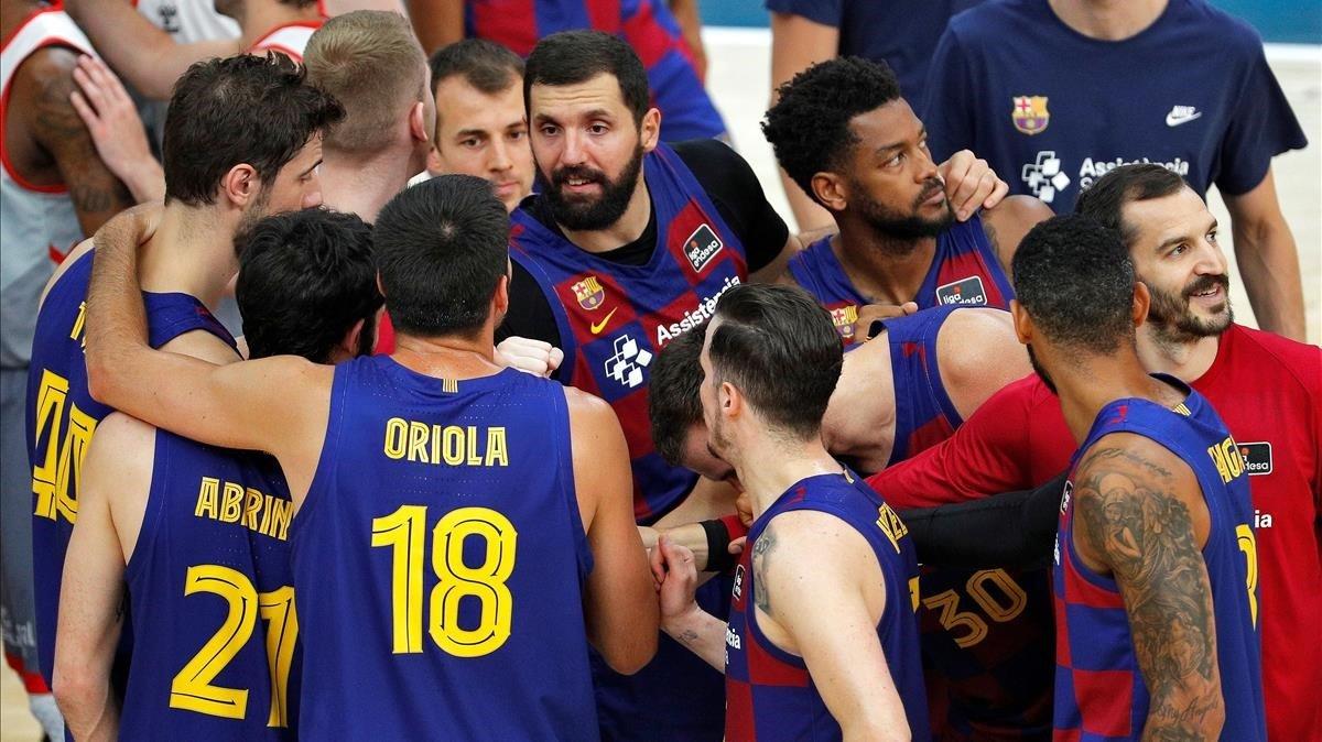 Los jugadores azulgranas celebran la clasificación para la final de la Liga.