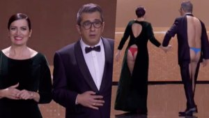 Silvia Abril y Andreu Buenafuente despidiendo la gala de entrega de los Premios Goya.