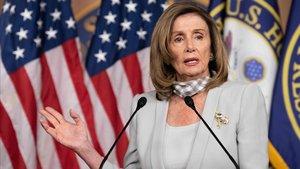 La 'speaker' de la Cámara baja de EEUU, Nancy Pelosi, en una comparecencia el pasado 13 de agosto en Washington.